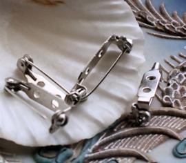 Set/5x Broche Achterkant voor Cabochons - 21 mm - Zilver Kleur Metaal