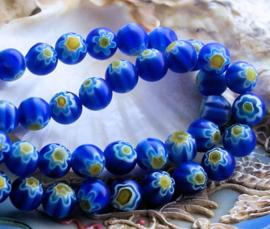 set/10 Millefiori Kralen - Glas - Rond 8 mm - Blauw Wit Geel