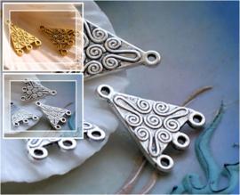 set/2 Bedels/(Oorbel)Chandelier/Verdeler: Swirl Decoratie - 22 mm - Antiek Zilver of Antiek Goud kleur