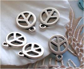 1 Bedel: Vredesteken - PEACE - 12x9 mm - Antiek Zilver Kleur