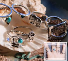 set/7 Ringen en Knokkelringen - Antiek Zilver & Turquoise kleur