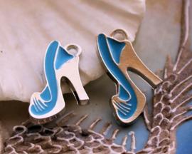 1 Emaille Bedel: Pump Schoen - 19x14 mm - Aqua Blauw