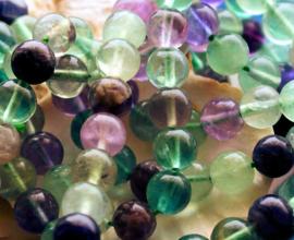 set/6 kralen:  echt Regenboog Fluoriet - Rond - 8 mm - Aqua Oceaan Paars