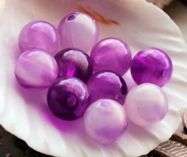 set/10 kralen: Magic Glow - Rond - 10 mm - Violet Paars