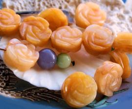 1 Prachtige Kraal: echt JADE - ROOS - 16 mm - Amber tinten