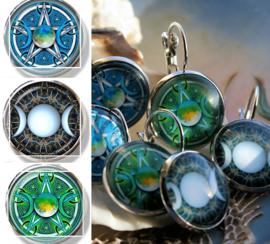 Paar Oorbellen: Wicca Maan Pentagram - 3 opties