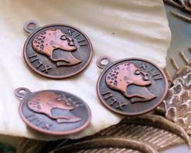 set/5 Bedels: Munt Romeins - 18x15 mm - Antiek Rood Koper Kleur Metaal