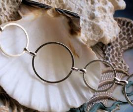 Cirkels 16+20 mm: Basis voor armband/ketting - per 19 cm - Zilver Kleur
