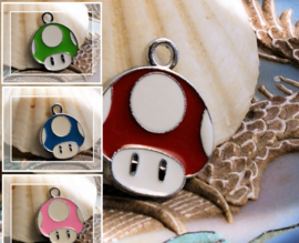 1 Emaille Bedel: MARIO - Super/1UP/Mini Mushroom - 24 mm
