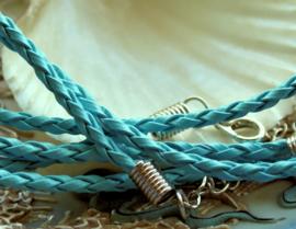 1 Ketting met Slotje - Imitatie Leer Gevlochten - Verstelbaar - 3 mm dik - Aqua Blauw/Turquoise