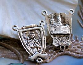 set/2 Rozenkrans Ornament - Tussenstukje Verdeler - 23 mm - Maria Jezus - Antiek Zilver Kleur