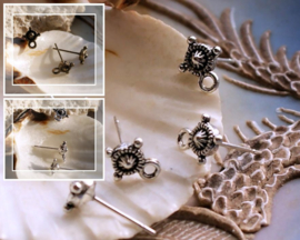 set/2 (= 1 paar) Oorbel Knop - Ear-stud - BALI - Antiek Zilver of Brons Kleur