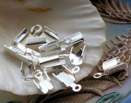 set/10 (= 5 paar) Veter Klem - 12x5 mm - Zilver Kleur Alu
