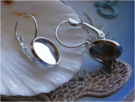 set/4 (= 2 paar) Oorbel Haakjes voor Cabochons - Zilver Kleur