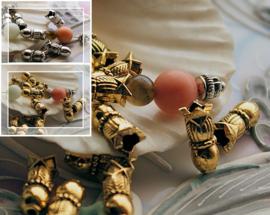 set/6 Arabische Gebeds Kralen of Kralen-Kapjes: 12,7 mm - Antiek Zilver of Goud-Koper kleur