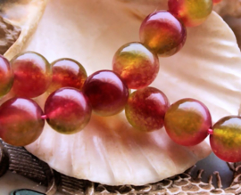 set/5 kralen: echte JADE - Rond - 10 mm - Roze met Olijf-Groen