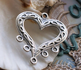 Pendant/Connector: Heart - 35 mm - Antique Silver tone
