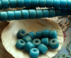 set/10 ANTIEKE TRADE BEADS Handelskralen: Boheems - ca 8,5 mm - Turquoise