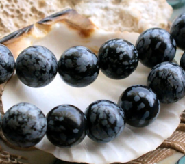 set/5 kralen: echt Sneeuwvlok Obsidiaan -  Rond - 12 mm - Zwart Grijs Wit