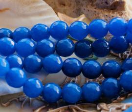 set/6 kralen: echte Candy JADE - Rond FACET - 7,8 mm - Azuur/Korenbloem Blauw