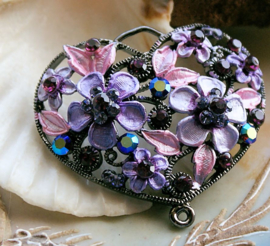 Beautiful Large Pendant: HEART wit Flowers & Crystals - Violet Purple Lilac