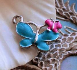 1 Emaille Bedel: Vlinders -  20 mm - Blauw Roze