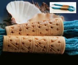Vintage Tibetaans Collier - deels omhuld met prachtig bewerkt been