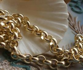 Jasseron Ketting - per 50 cm - Chain - 7 mm schakel - Goud Kleur
