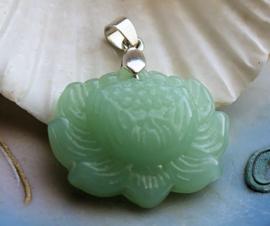 Mooie Hanger van echt Jadeite Jade: Lotus Bloem - 36 mm