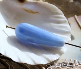1 Kraal/Hanger: echt Agaat - ca 30x10 mm - Licht Blauw