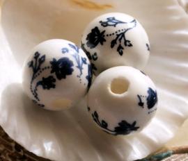 1 Grote Kraal: Porselein - Bloemen - Rond - 16 mm - Wit Zwart-Blauw