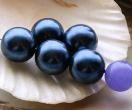 set/5 Grote Kralen: Parel Glas - Rond - 12 mm -  Donker Staal-Blauw