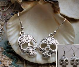 Paar Oorbellen: Sugar Skull - Dia de los Muertos - Antiek Zilver Kleur - 40 mm