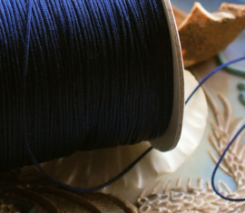 Glans Rijgdraad - Garen - Per 5 meter lengte - 0,8 mm dik - Donker Blauw