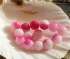 set/10 kralen: echte JADE - Rond - 6 mm - Wit Roze