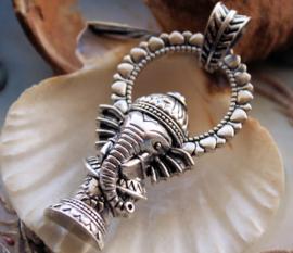 Hanger: Olifant-God GANESH Ganesha - 58 mm - Antiek Zilver Kleur
