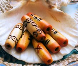 BONE: 1 Mooie Handbewerkte Kraal van BEEN uit Afrika - diverse opties