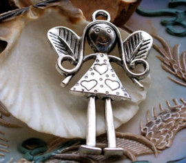 Large Pendant: Fairy Girl with Hearts - 56 mm - Antique Silver tone