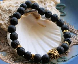 Dames/Heren Armband: Leeuw met Zwart Lava Steen - Goud Kleur