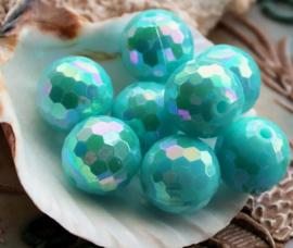 1 mooie grote kraal: Rond Facet - 14 mm - Aqua/Turquoise-Blauw AB