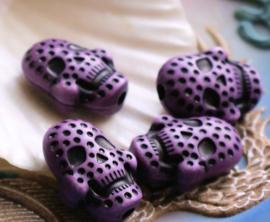 1 grote kraal: Kunsthars - SKULL - 20x15 mm - Violet Paars met Zwart