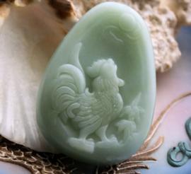 Mooie Hanger van echt Jade: Haan - 53 mm - Celadon Groen
