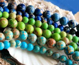 set/* kralen: Sediment Jaspis - Rond - 6 of 8 mm - Aqua Turquoise of Lapis Kobalt Blauw of Peridoot Appel Groen