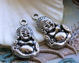 1 Bedel: lachende Boeddha - 27 mm - Antiek Zilver Kleur Metaal
