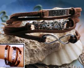 Armband 'Infinity Brown' 5-rij in Imitatie Suède