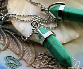 Ball Chain ketting met Pendel-Hanger: Groen Turquoise - circa 40 mm lang