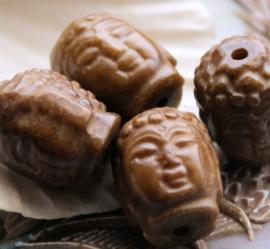 1 Grote Gedetailleerde Kraal: Boeddha - echt Xiu Jade - ca 19x15 mm - OB