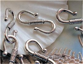 set/3 S-Haak Sluitingen/Slotjes: Ribbel - 24 mm - Glans Antiek Zilver Kleur Metaal