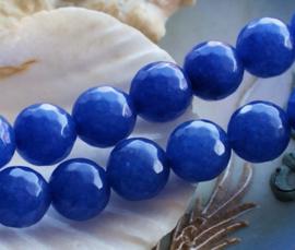 set/2 kralen: echte Candy JADE - Rond FACET - 10 mm - Korenbloem Blauw