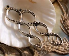 set/2 lange (oorbel) hangers: Bali - 46 mm - Antiek Zilver Kleur